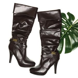 Madeline Stuart Rollins Brown Pleather Boots